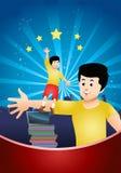 Το αγόρι προσπαθεί να φθάσει στα αστέρια περπατώντας τους σωρούς βιβλίων Στοκ φωτογραφία με δικαίωμα ελεύθερης χρήσης