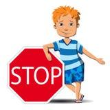 Το αγόρι σταματά και προσφέρει μια επιλογή Στοκ Εικόνα