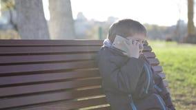 Το αγόρι στη συνεδρίαση πάρκων που μιλά στο τηλέφωνο, ξέχασε το κινητό τηλέφωνο, απόθεμα βίντεο