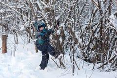 Το αγόρι στο δέντρο το χειμώνα Στοκ Εικόνα
