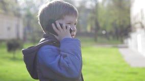Το αγόρι στο πάρκο είναι χτύπημα, μιλώντας στο τηλέφωνο απόθεμα βίντεο