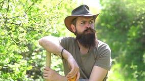 Το αγόρι της Farmer παίρνει το λαχανικό μια ηλιόλουστη ημέρα σε έναν κήπο Συναισθηματικό αστείο γενειοφόρο hipster στο αγρόκτημα  φιλμ μικρού μήκους