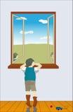 το αγόρι φαίνεται έξω παράθ&upsil Στοκ εικόνα με δικαίωμα ελεύθερης χρήσης
