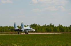 Το αεριωθούμενο αεροπλάνο είναι στο διάδρομο του αερολιμένα Kubinka, περιοχή της Μόσχας, της Ρωσίας, μπορεί 12, το 2018 Στοκ εικόνα με δικαίωμα ελεύθερης χρήσης