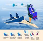 Το αεριωθούμενο πακέτο Catapulting proces πειραματικό με το αλεξίπτωτο ανοίγει σε ένα ειδικό κάθισμα από το αεροπλάνο διανυσματική απεικόνιση