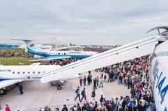 Το αεροδρόμιο Zhukovsky, ανοίγει τον πίνακα τα TU-144 σε MAKS Στοκ Εικόνα