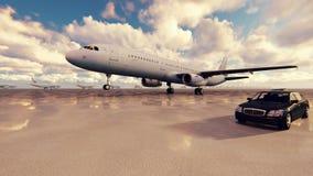 Το αεροπλάνο απογειώνεται μια ηλιόλουστη ημέρα ενάντια συνοδευόμενος με τα επιχειρησιακά αυτοκίνητα σε σε αργή κίνηση απόθεμα βίντεο