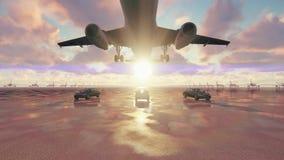 Το αεροπλάνο απογειώνεται στην ανατολή που συνοδεύεται με τα επιχειρησιακά αυτοκίνητα σε σε αργή κίνηση απόθεμα βίντεο