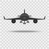 Το αεροπλάνο, μια μπροστινή άποψη σε ένα υπόβαθρο με μια σκιά ελεύθερη απεικόνιση δικαιώματος