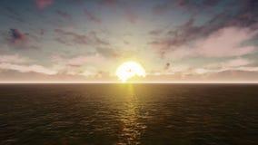 Το αεροπλάνο πετά πέρα από το Ειρηνικό Ωκεανό στην ανατολή απόθεμα βίντεο
