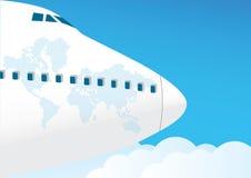 το αεροπλάνο πετά τον ου& Στοκ Φωτογραφίες