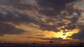 Το αεροπλάνο προσγειώνεται Dawn Ξημερώματα Ο ουρανός είναι πορτοκαλής στον ορίζοντα απόθεμα βίντεο