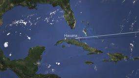 Το αεροπλάνο φθάνει στην Αβάνα, Κούβα από την ανατολή, τρισδιάστατη απόδοση διανυσματική απεικόνιση