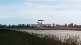 Το αεροπλάνο απογειώνεται στη βάση διανυσματική απεικόνιση
