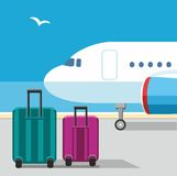 Το αεροπλάνο, βαλίτσες, Seagull, μπλε ουρανός, αερολιμένας, αποσκευές, διακοπές Στοκ φωτογραφία με δικαίωμα ελεύθερης χρήσης