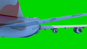 Το αεροπλάνο επιβατών πετά στο πράσινο υπόβαθρο ελεύθερη απεικόνιση δικαιώματος
