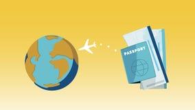 Το αεροπλάνο και το σφαιρικό διάνυσμα έννοιας ταξιδιού για τα πρότυπα, εμβλήματα, διαφημίζουν την αντιπροσωπεία, προγράμματα Στοκ Εικόνες