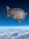 Το αεροσκάφος Steampunk καλύπτει το μπλε ουρανό Στοκ Εικόνες