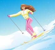 Το αθλητικό κορίτσι στα βουνά είναι να κάνει σκι ακραίος ενεργός χειμερινός αθλητισμός στις νέες διακοπές έτους και Χριστουγέννων απεικόνιση αποθεμάτων