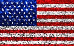 Το αμερικανικό ΑΜΕΡΙΚΑΝΙΚΟ ύφασμα ακτινοβολεί σημαία, αστέρια σπινθηρίσματος και λωρίδες Στοκ φωτογραφία με δικαίωμα ελεύθερης χρήσης