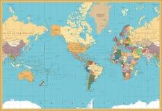 Το αναδρομικό χρώμα Αμερική κεντροθέτησε τον πολιτικό παγκόσμιο χάρτη απεικόνιση αποθεμάτων