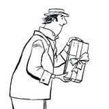 Το αναδρομικό άτομο δίνει ένα δώρο Στοκ Φωτογραφία