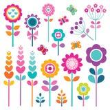 Το αναδρομικό σύνολο λουλουδιών χρωματίζει την άνοιξη ελεύθερη απεικόνιση δικαιώματος