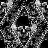 Το ανθρώπινο κρανίο με peony, αυξήθηκε και τα λουλούδια παπαρουνών πέρα από το ιερό geome διανυσματική απεικόνιση