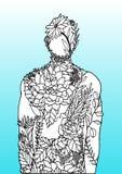 Το ανθρώπινο σώμα ανθίζει το μπλε χέρι σχεδίου απεικόνισης ενεργειακής αφηρημένο τέχνης δύναμης πνευμάτων υποβάθρου που σύρεται απεικόνιση αποθεμάτων