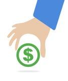 Το ανθρώπινο χέρι κρατά το σύμβολο δολαρίων νομίσματος για την αγορά και την έννοια ανταλλαγής χρημάτων αποθεμάτων μέσα Στοκ Εικόνες