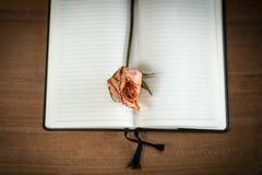 Το ανοιγμένο κενό σημειωματάριο με παλαιό αυξήθηκε Στοκ φωτογραφία με δικαίωμα ελεύθερης χρήσης