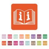 Το ανοικτό εικονίδιο βιβλίων Χειρωνακτικός και διδακτικός, οδηγία, σύμβολο εγκυκλοπαιδειών επίπεδος απεικόνιση αποθεμάτων