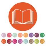 Το ανοικτό εικονίδιο βιβλίων Χειρωνακτικός και διδακτικός, σύμβολο οδηγίας επίπεδος ελεύθερη απεικόνιση δικαιώματος