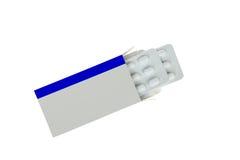Το ανοικτό κενό πακέτο ιατρικής ετικετών με τα χάπια φουσκαλών συσκευάζει, απομονωμένος στο λευκό Στοκ φωτογραφία με δικαίωμα ελεύθερης χρήσης