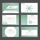 Το ανοικτό πράσινο επίπεδο σχέδιο στοιχείων Infographic προτύπων παρουσίασης πολυγώνων έθεσε για το μάρκετινγκ φυλλάδιων ιπτάμενω Στοκ Εικόνα