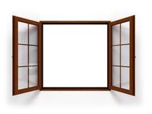 Το ανοικτό σκοτεινό ξύλινο παράθυρο απομόνωσε κοντά επάνω Στοκ Εικόνες