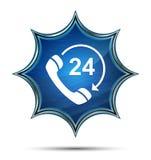 το ανοικτό τηλέφωνο 24 ωρών περιστρέφεται το εικονίδιο βελών μαγική υαλώδης ηλιοφάνεια μπλε κουμπί απεικόνιση αποθεμάτων