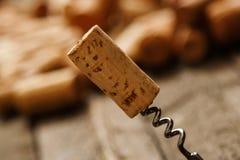 Το ανοιχτήρι και το κρασί βουλώνουν Στοκ Εικόνα