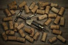 Το ανοιχτήρι και το κρασί βουλώνουν Στοκ Φωτογραφία