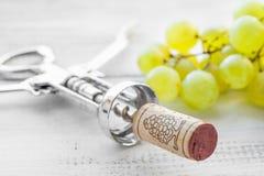 Το ανοιχτήρι, το σταφύλι και το κρασί βουλώνουν Στοκ Φωτογραφίες