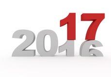 το 2016 αντικαθίσταται μέχρι νέο το 2017 τρισδιάστατο δίνει Στοκ φωτογραφία με δικαίωμα ελεύθερης χρήσης