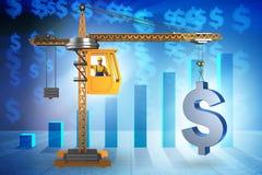 Το ανυψωτικό δολάριο γερανών κατασκευής στην επιχειρησιακή έννοια νομίσματος Στοκ Εικόνες