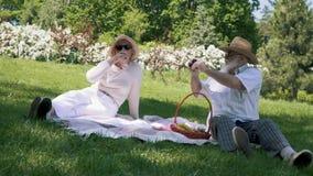 Το ανώτερο άτομο στο καπέλο φωτογραφίζει τη σύζυγο κομψότητάς του με το ποτήρι του κρασιού κατά τη διάρκεια του πικ-νίκ απόθεμα βίντεο