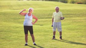 Το ανώτερο ζεύγος κάνει τις ασκήσεις απόθεμα βίντεο