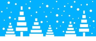 Το απλό άνευ ραφής έγγραφο έκοψε το χειμερινό διανυσματικό τοπίο με τα τυποποιημένα χαμηλά πολυ δέντρα και μειωμένα snowflakes στ ελεύθερη απεικόνιση δικαιώματος