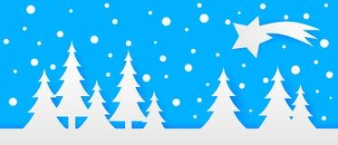 Το απλό άνευ ραφής έγγραφο έκοψε το χειμερινό διανυσματικό τοπίο με τα δέντρα, έναν κομήτη και μειωμένα snowflakes στο μπλε υπόβα διανυσματική απεικόνιση