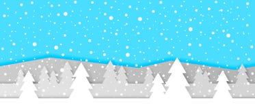 Το απλό άνευ ραφής έγγραφο έκοψε το χειμερινό διανυσματικό τοπίο με τα βαλμένα σε στρώσεις βουνά, τα δέντρα και μειωμένα snowflak ελεύθερη απεικόνιση δικαιώματος