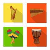 Το απομονωμένο αντικείμενο της μουσικής και συντονίζει το εικονίδιο Σύνολο μουσικής και διανυσματικής απεικόνισης αποθεμάτων εργα απεικόνιση αποθεμάτων
