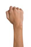 Το απομονωμένο κενό ανοικτό θηλυκό γυναικών παραδίδει μια θέση πυγμών σε ένα άσπρο υπόβαθρο στοκ φωτογραφία με δικαίωμα ελεύθερης χρήσης