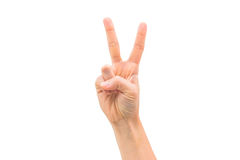 Το απομονωμένο χέρι γυναικών παρουσιάζει σημάδια νίκης Στοκ φωτογραφίες με δικαίωμα ελεύθερης χρήσης